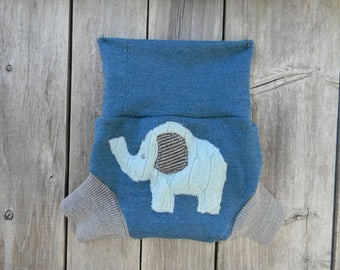 Upcycled Merino Wool Soaker Cover Diaper Cover With Added Doubler Teal/ Gray With Elephant Applique SMALL 3-7M Kidsgogreen