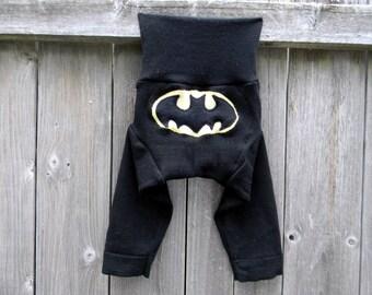 MEDIUM Upcycled Merino Wool Longies Soaker Cover Diaper Cover With Added Doubler Black With Batman MEDIUM 6-12M Kidsgogreen