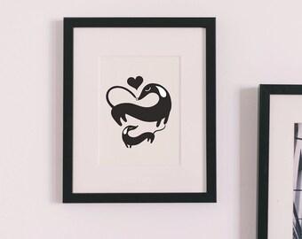 Dachshund LOVE - Hearts - Modern Dog Print, Art Print, 8 x 10, Nursery Art, Dachshund Art, Dog Art Print