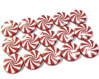 """Red Peppermints, 1"""" Button, Red Peppermint Pin, Red Peppermint Button, Red Candy, Xmas, Christmas Party Favor, Peppermint, Peppermint Pin"""