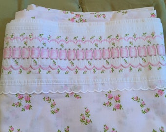 St. Mary's Vintage Queen Flat Sheet, Pink Rose Floral Ribbon Print on Bright White, Cottage Style 50% Cotton 50 Percent Poly Made in The USA