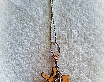 Moose Necklace-Tiny Wooden Moose Necklace-Handmade Copper Wire, Tiny Silver Beads, and Silver Plated Chain-Adirondack Moose Charm Necklace