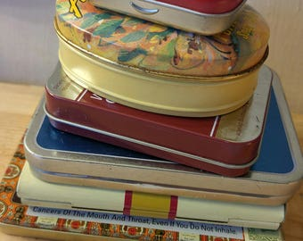 Tins for Crafting-Detash-Assorted Small Tins for Crafting, DIY Projects-6 Used Assorted Tin Containers/Boxes for Repurposing Projects