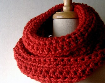Cowl Neckwarmer Infinity Scarf Wrap in Brick Red