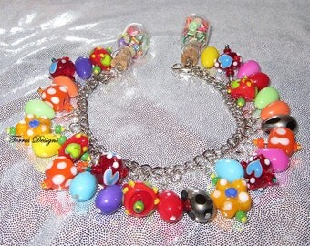 Custom One of a Kind OOAK Yoshi Charm Bracelet by TorresDesigns Collectible Gift Ready To Ship