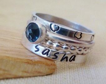 Set of 4 Name ring Sterling Silver Stacking Custom Name and Birthstone stacking rings. Blue Topaz Ring December birthstone. Sagittarius.