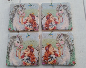 Pony, Princess and Puppy Stone Coaster Set of 4 Tea Coffee Beer Coasters