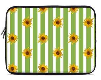 Striped laptop case, floral laptop sleeve, yellow and green laptop cover, sunflowers laptop cover, to fit 10, 13, 15, 17 inch