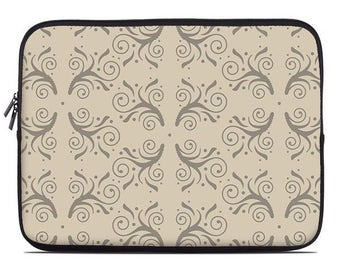 Tan laptop case, flourish laptop sleeve, laptop cover, to fit 10, 13, 15, 17 inch
