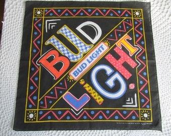 Vintage Bud Light Beer Handkerchief Souvineer Hanky Bandana Head Scarf Black Colorful Rare