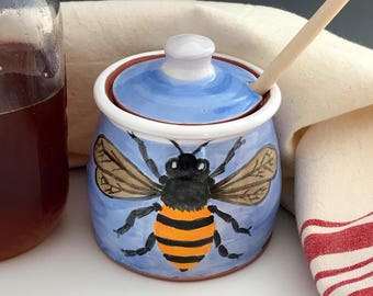 Honey Bee Jar with Wooden Dipper in Blue, Lidded Honey Pot, Hand Painted Pottery Jar with Bee, Kitchen Decor, Storage Jar for Honey.