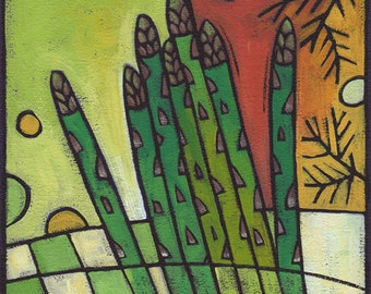 "8""x 8"" original acrylic painting on canvas - ""Asparagus Spears"""