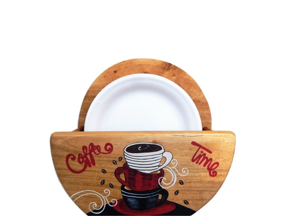 Paper Plate Holder, Wooden Plate Holder, Coffee Themed Kitchen, Coffee Theme, Coffee Gift, Coffee Lovers, storage for plates, Plate Storage