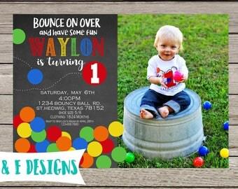 Bouncy Ball Fun Birthday invitation