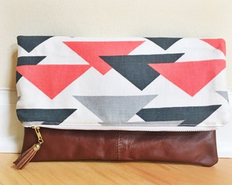 Genuine Leather & Fabric Foldover Clutch  - Zippered Purse with Tassel
