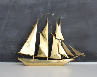Brass Ship Hanging   Brass Wall Art   Gold Sailboat   Gold Boat   Brass Art   Brass Ship   Gold Ship   Brass Sailboat