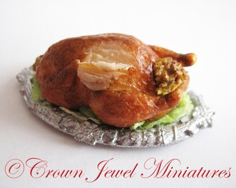 1:12 Holiday Roasted Turkey With Cornbread Stuffing by IGMA Artisan Robin Brady-Boxwell - Crown Jewel Miniatures