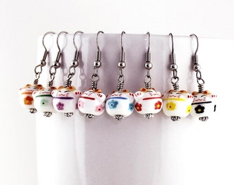 Maneki Neko Earrings - Happy Cat Beads, Decorated in Black, Blue, Mint, Orange, Pink, Purple, Red, or Yellow Flowers, Steel Earwires