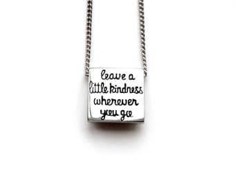 Hand carved quote pendant // inspirational quote necklace // hidden message jewelry // leave a little kindness wherever you go