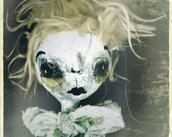 Surreal Portrait Photograph, moody photograph, fine art, dark fairytale photo, Gothic home decor,eerie photo, haunting face, gloomy doll