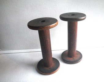 Pair Large Antique Industrial Wood Bobbins - Candleholders - Rustic Decor - Textile Mill Spools