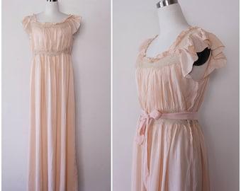 1930's Antique Silk Bridal Nightgown, Pink Bridal Dress, Silk Laced Dress, Wedding Silk Dress L XL, 1930's lingerie
