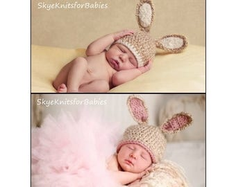 Crochet Baby Hat, Bunny Hat, Crochet Bunny Hat, Newborn Photo Prop, Bunny Ears Hat, Easter Hat, Baby Girls, Baby Boys, Easter Newborn Prop