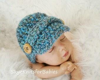 Crochet Newsboy Cap, Newborn Newsboy Hat, Baby Newsboy Hat, Baby Hat, Baby Boy Hat, Baby Girl Hat, Newborn Photography Prop