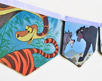 THE JUNGLE BOOK Banner Vintage Little Golden Book storybook  Bunting Paper Children story book Decoration Eco  Baby Shower Birthday Party