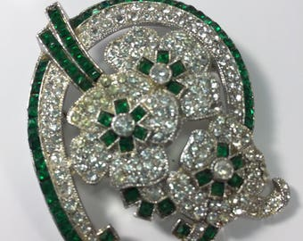 Green and Clear Rhinestone Brooch