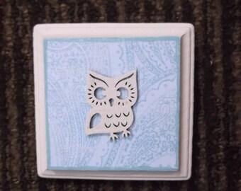 Little Owl, shabby Owl, mini art, distressed white and blue paisley, wall decor petite