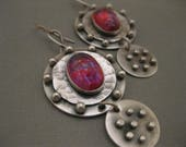 Reserved Artisan Sterling Silver Disk with Dragons Breath Mexican Opal