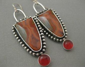 Moroccan Agate and Red Carnelian Agate Dangle Earrings