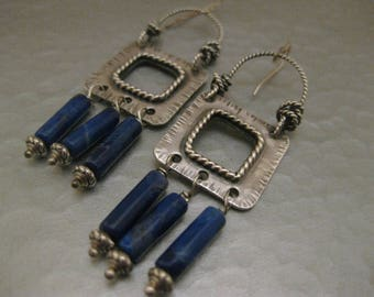 Long Sterling Silver Square Earrings with Lapis