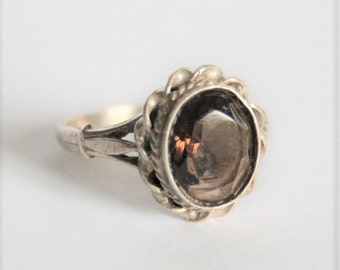 Vintage sterling silver and smoky topaz ring.  UK size N.  US size 7 3/4