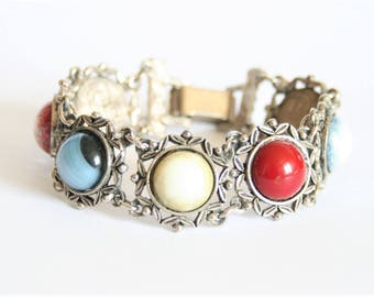 Vintage Celtic style bracelet.  Multi colour bracelet. Miracle style bracelet. Bijoux anciens.  Vintage jewellery