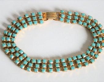 Vintage turquoise crystal bracelet. Turquoise rhinestone bracelet.  Vintage jewellery