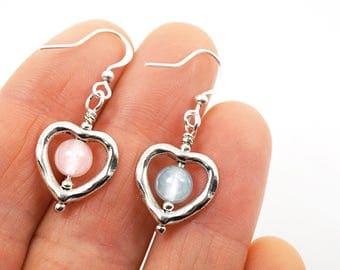 Summer Party Aquamarine Earrings Rose Quartz Earrings Sterling Silver Heart Earrings girlfriend Gift idea for women Genuine Gemstone Earring