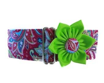 Pink Martingale Collar, 2 Inch Martingale Collar, Paisley Martingale Collar, Paisley Dog Collar, Sighthound Collar, Dog Collar Flower