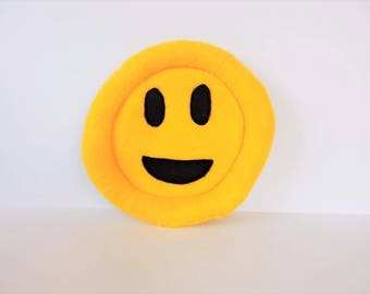 Happy Emoji Flying Disc for Dogs - Felt Flying Saucer - Small/Large Happy Face Durable Dog Toy - Felt/Canvas Dog Fetch Toy