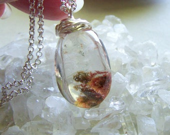 Red Lodolite Landscape Quartz Polished Stone Pendant
