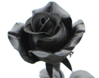 Black leather rose third Anniversary wedding gift Long Stem leather Flower Valentines 3rd Leather Anniversary goth wedding