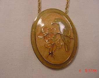 Vintage Song Bird & Flowers Necklace   17 - 49