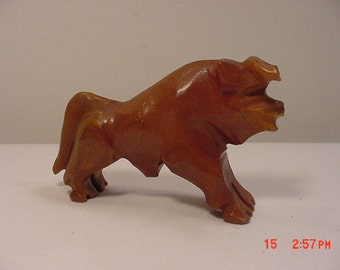 Vintage Brown Onyx Bull Figurine  17 - 167