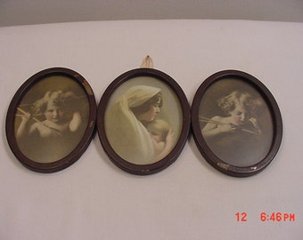 Vintage Cupid Awake Cupid Asleep And Mother And Baby M.B. Parkinson Triple Oval Tin Framed Prints  17 - 307