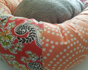 the VIVI WALKER Donut Dog Bed- Medium, Ready To Ship, One of a kind, Orange, Floral
