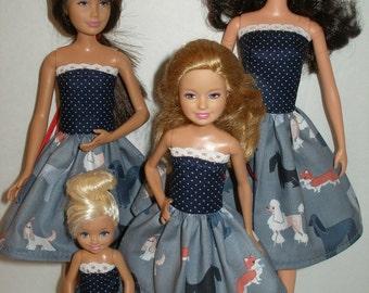 Handmade Fashion Doll clothes - 4 Fashion Doll Sisters Set -  blue dog print dresses