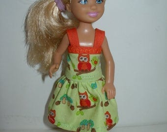 """Handmade 5.5"""" little sister fashion doll clothes - green and orange owl print dress with sraps"""