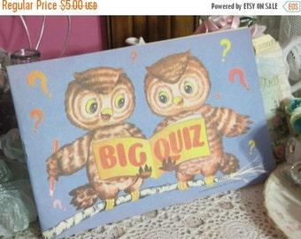 ON SALE Vintage Coloring Book-Big Quiz-OWLS-Animals-Adorable Graphics-Unused