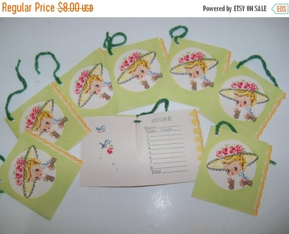 ON SALE Vintage Tallys-Tallies-Ephemera-Games-Playing Cards-Girls and Bluebirds-Set of 8